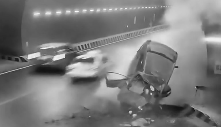 Moment Car Slams Into Wall In Motorway Tunnel Crash