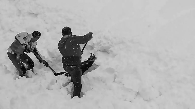 Train Workers Rescue Goat Trapped In Thick Snow
