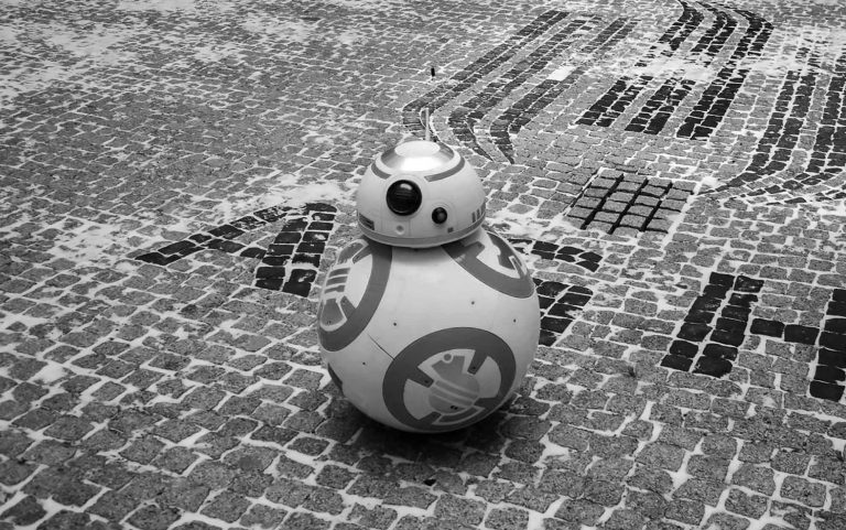 Students Engineering Degree With BB-8 Star Wars Replica