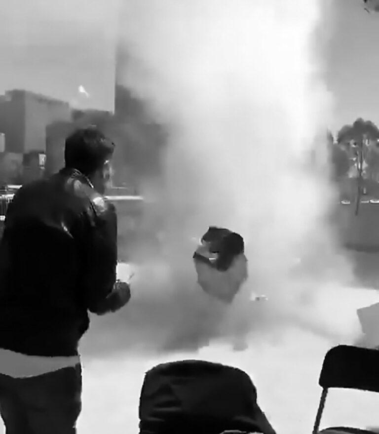 Dust Devil Tornado Spirals Through Park During Rally