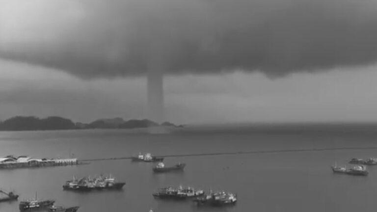Water Sucking Dragon Tornado Spirals Across Sea