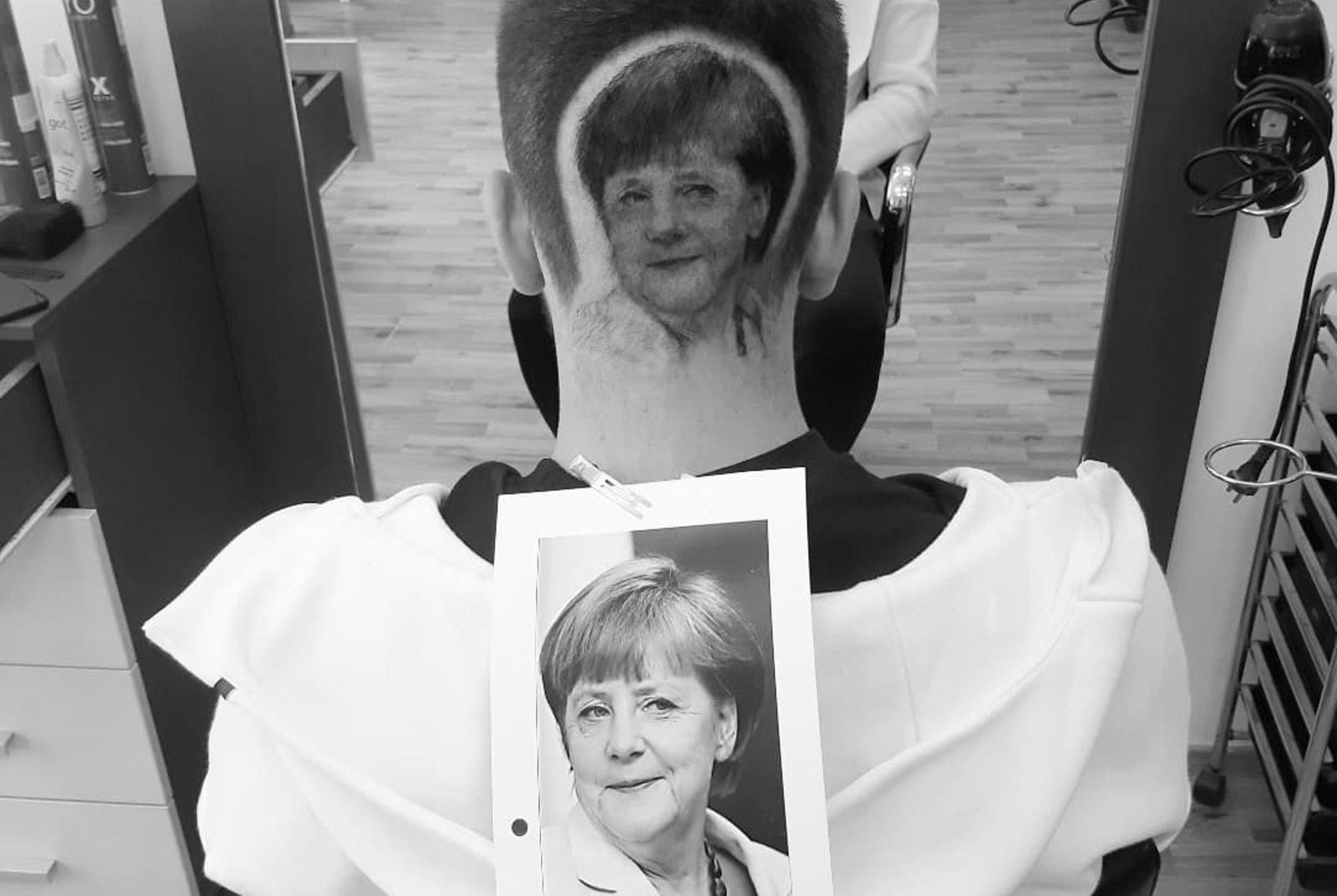 Barber Shaves Life-Like Angela Merkel Onto Clients Head