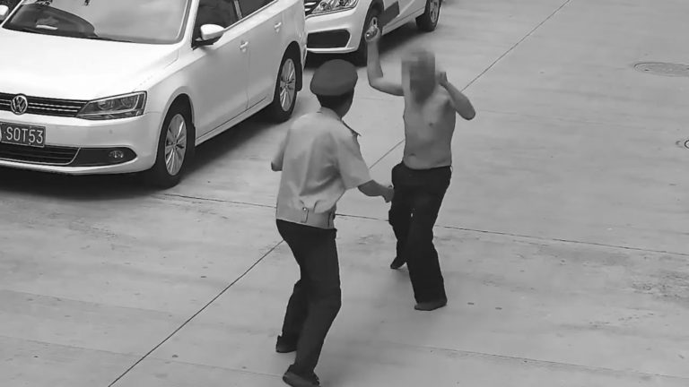 Kung Fu Fighting OAP Tries To Hack Guard With Cleavers