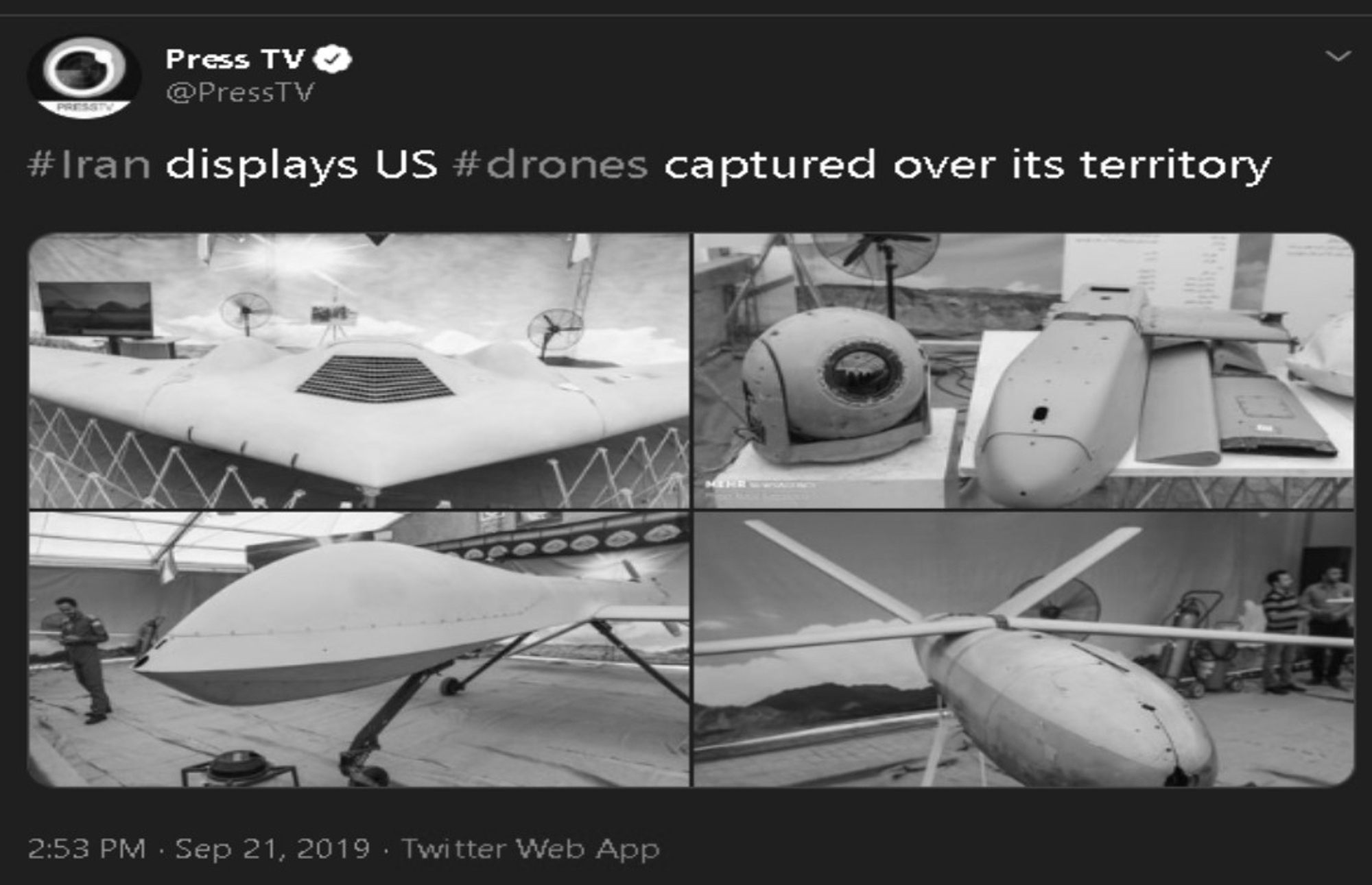 Iran Puts Downed British And US Drones On Display